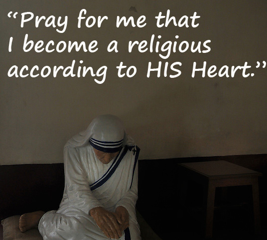 A statue of praying Mother Teresa is placed in the same place where Mother used pray in the praying room at the Mother's House, Kolkata, West Bengal, India. 18th August 2010. Arindam Mukherjee